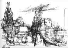 ROTTERDAM - Anton WATZL - Original Seriegraphie 1967 Ignatius Kathedrale ZALM