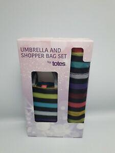 Totes Black Colourful Stripe Printed Umbrella and Bag Gift Set