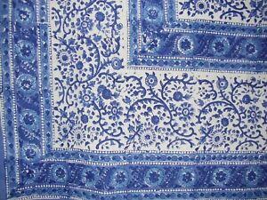 "Rajasthan Block Print Square Cotton Tablecloth 60"" x 60"" Blue"