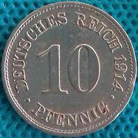 PIÈCE MONNAIE ALLEMAGNE 1914 EE 10 PFENNIG Ref 0286 *