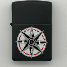 Zippo Lighter Black Matte with Compass Design Unused