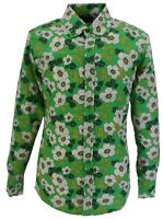 Mens 70s Mens Green Psychedelic Floral Poppy Shirt