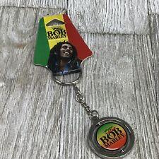 Bob Marley Key Ring Holder Spinner Logo Reggae Silver Multi Color