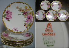 "set of 5 Antique TV Limoges France salad Plates ,Pink Orchids, 7 3/8"", Stunning"