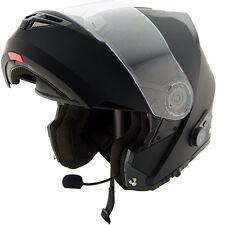 Hawk H7000 Gloss Black Dual-Visor Modular Motorcycle Helmet w/Bluetooth SIZE MED