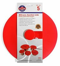Silicone Cooking, Food Storage, Microwave Cover & Suction Lids,  Set of 5, Red