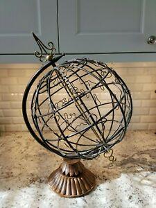"Large Artistic Brass/Metal Hollowed World Globe; Wood Stand  21""Tall; India EUC"