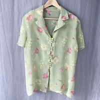 *VINTAGE* Muted Green Multi Floral SIZE 18 UK Short Sleeve Sheer Blouse V1
