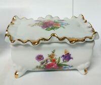 Porcelain Box Vintage Trinket Hinged Flowers Lid White Floral Painted Nice Old