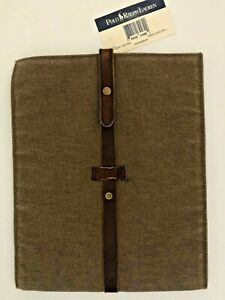 Polo Ralph Lauren NWT $125 Tablet Case Canvas w Leather Gadget Document Sleeve