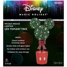 NEW DISNEY'S CHRISTMAS 3FT MICKEY MOUSE LIGHTED FREESTANDING TOPIARY TREE GEMMY