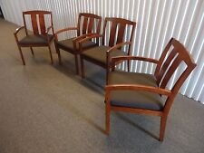 Kimball Set of Four Guest Dining Arm Chairs Mid-Century Modern, in Brown Fabric
