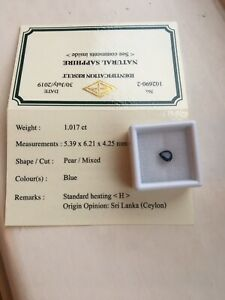 certified loose sapphire 1.017ct Pear Cut