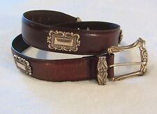 Fossil Leather Western Belt size S Brown Silver Buckle Conchos