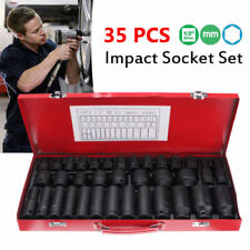 35pcs 1/2 inch Deep Air Impact Drive Metric Wrench Tool Kit 8-32mm Socket Set