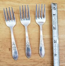 LOT OF 3 WM ROGERS VINTAGE 1934 BURGUNDY /CHAMPAGNE PTRN SILVERPLATED BABY FORKS