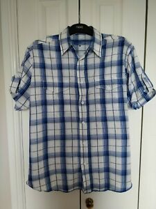 Mens Short Sleeved Blue And White Check Shirt Size M From New Look