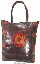 Leather Shoulder Tote Carry Shopper Bag Lotus Mandala Indian 38 x 36 cm