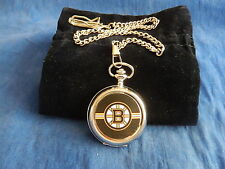BOSTON BRUINS ICE HOCKEY NHL CHROME POCKET WATCH WITH CHAIN (NEW)