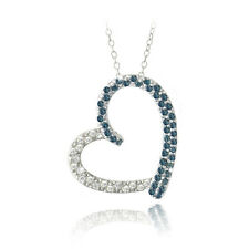 925 Silver 2/5ct Blue Diamond & White Topaz Open Floating Heart Necklace