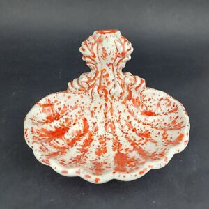 Vintage Drip Glaze Pottery Wall Dish Soap Dish Clam Shell White Red Orange