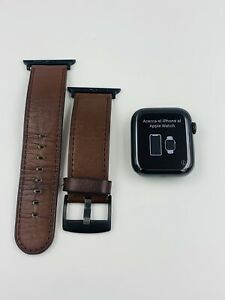 Apple Watch Series 5 44mm Cellular Stainless Steel LTE Brown Leather Strap