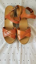 J crew brown leather suede wedge sandal