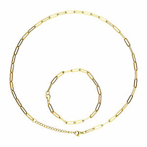 Stainless Steel Gold  Necklace & Bracelet Kit Paperclip Link Chain Jewelry