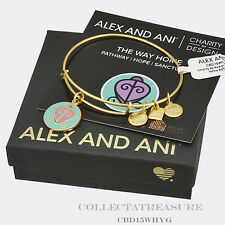 Authentic Alex and Ani The Way Home Yellow Gold Charm Bangle CBD