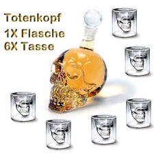 Kristall Totenkopf Schädel Wein Vodka Glas Flasche +6 Tassen Skull Head Gescheck