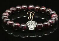 Granat 8mm Armband Bracelet Perlenarmband silberfarbene Krone