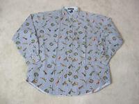 VINTAGE Tommy Hilfiger Button Up Shirt Adult Large Blue White Golf Golfer 90s
