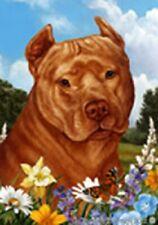 Summer Garden Flag - Orange American Pit Bull Terrier 184061