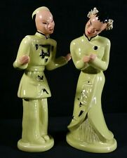 Vintage Pair California Pottery Asian Figurines Lime Signed Yona 8.5-9 Inch FINE