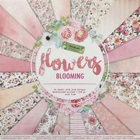 🥇bloc 24 papier feuille scrapbooking recto verso flower rose shabby 30X30cm 🥇