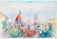 Vintage Print The Duomo Cathedral Florence, Italy Hand Colored & Signed