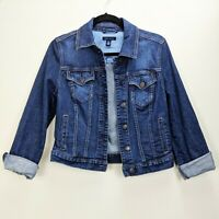 Tommy Hilfiger Womens Jean Jacket Dark Blue Size Medium Trucker Denim Coat