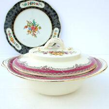 Vintage Burleigh Tudor Floral Pink Cream Serving Tureen