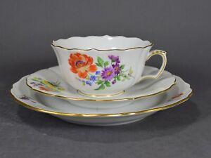 Meissen Teegedeck Gedeck Tasse Teetasse tea cup Teller plate Blumen  マイセン 邁森
