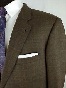 Jos. A. Bank 46R Brown Check Wool Two Button Sport Coat Blazer Jacket