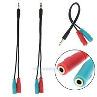 2PCS 3.5mm Y Splitter 1 Jack Male to 2 Female Headphone Mic Audio Adapter Cable