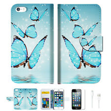 Cyan Butterfly Wallet  Case Cover For Apple iPhone 6 6S -- A019