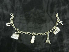Fabulous Italian  925 Sterling Silver  Friendship Charm Bracelet With 6 Charms