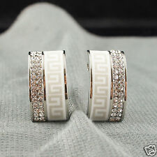 18k white Gold plated with Swarovski crystals solid earrings