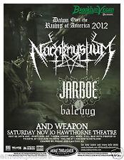 Nachtmystium / Jarboe 2012 Portland Concert Tour Poster - Black Metal Music