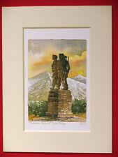 SPEAN BRIDGE COMMANDO MEMORIAL MONUMENT CHARMING MOUNTED WATERCOLOUR PRINT 8X6