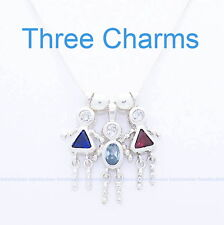 "THREE Birthstone Charms .925 Sterling Silver Baby Mother Child Brat w/18"" Chain"