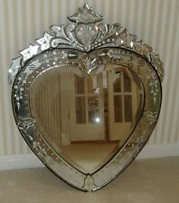 Venetian Glass And Wood Heart Wall Mirror/Shabby Chic/French