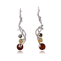 Sterling Silver Earrings Jewellery Amber Brown Dangle Round Natural Droplets 925