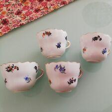1.Wahl mini Meissen Meißner Tasse 4 Stück Streublumen Goldrand Miniatur